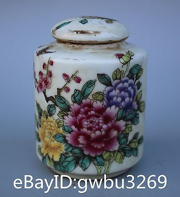 Chinese Rare Famille rose porcelain Hand-painted flower Old Tea canister -Pot