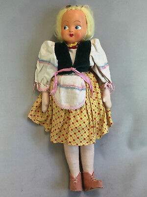 "Vintage 14"" Polish Doll With Cloth Body and Celluloid Face Made in Poland"