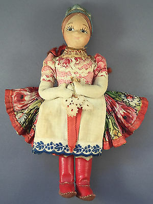 "Vintage Hungarian Molded Cloth Hand Painted Facial Features 8"" Doll Hungary"