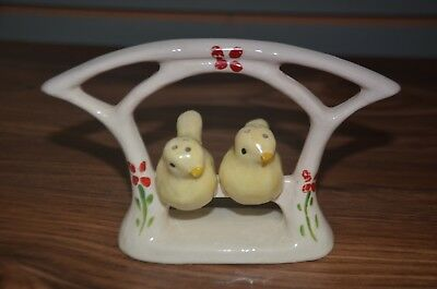 Vintage porcelain salt and pepper shakers YELLOW PERCHED BIRDS rare EX. COND