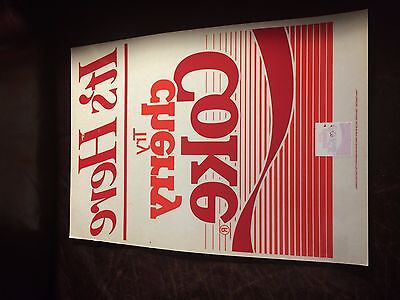 """Vintage """"Try Cherry Coke"""" Window Cling Coca-Cola 17""""x12"""" Advertisement Ad"""