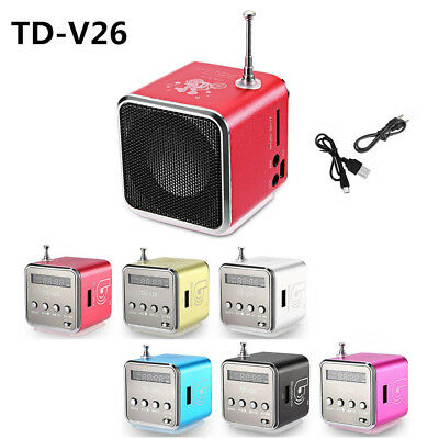 TD-V26 Mini Speaker Portable Micro SD/TF Music Player Digital LCD Sound FM Radio