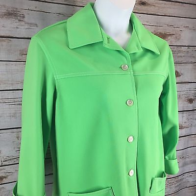 Jack Winter Size Medium Neon Green Vintage 70's Jacket Blazer Button Front
