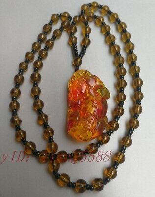 Exquisite natural amber brave animal necklace hanging