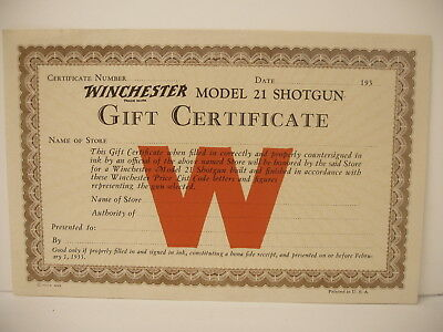 Early Orig Winchester Gift Certificate model 21 shotgun dated 1935