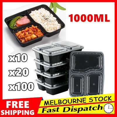 10-100 Plastic Food Container DISPOSABLE Takeaway Take Away Microwave Box Lids