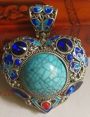 China's Tibet silver inlay cloisonne & zircon by hand pendants o2