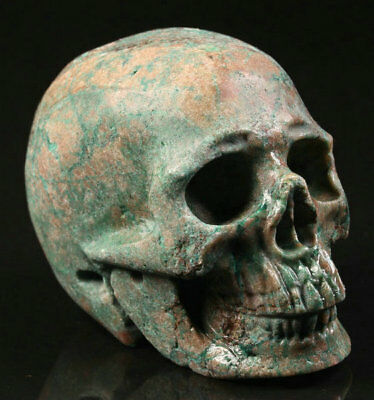 """2.1""""Turquoise Carved Crystal Skull, Realistic, Crystal Healing"""