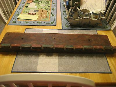 Early 1800S Penn German Hanging Wooden Spoon Rack With Original Red And Blue Pai