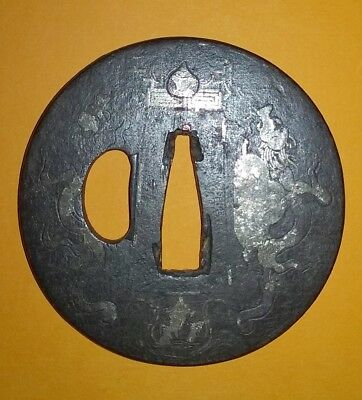 Antique Japanese Samurai Tsuba Of The Edo Period – Silver Dragon Design