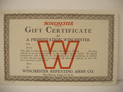 Early Orig Winchester Gift Certificate for Presentation Winchester dated 1935