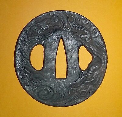 Antique Japanese Samurai Tsuba Of The Edo Period – Wakizashi Dragon Design