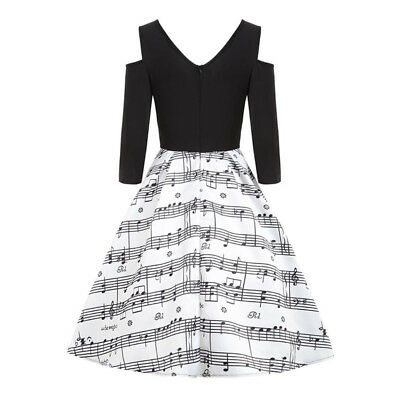 Unique 50s Lady Rockabilly Note Print Swing Vintage Retro Daily Party Ball Dress