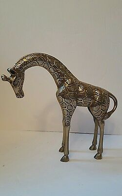heavy solid Brass giraffe figurine approx. 8.5 inches 1kg great condition