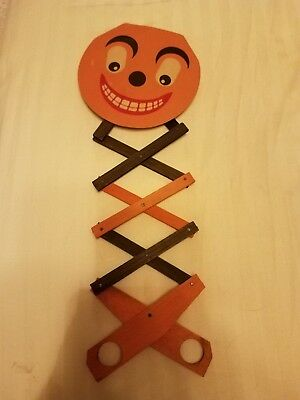 Vintage Jack-O-Lantern Toy Wood & Paper Criss Cross Expandable