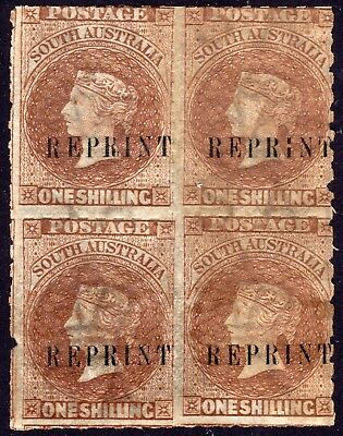 South Australia ca. 1891 one shilling brown rouletted 'REPRINTS' scarce block