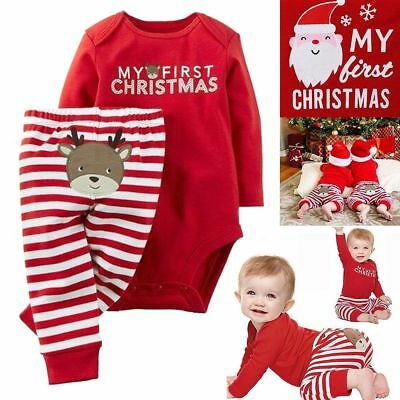 Newborn Baby Boy Girl My First Christmas Jumpsuit Romper Bodysuit+Pants Outfits
