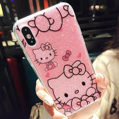 Cute Bling Sparkle Giltter Hello Kitty Soft Case Cover for iPhone 8 X 6S 7 Plus
