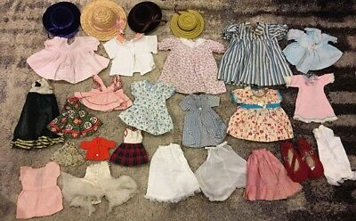 Vintage 1950's Doll Clothes Lot - 27 Dresses Coat Dress Clothing Girl Baby Dolls