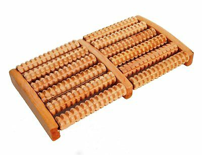 6 Roller Foot Massager Stress Relief Health Therapy Relax Massage Wooden Wood
