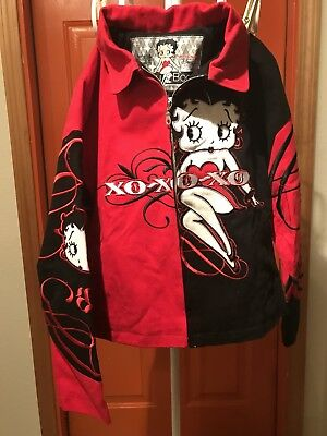 Betty Boop Jacket Black And Red Jean classic coat