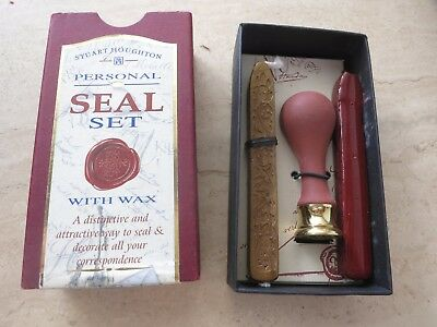 """Stuart Houghton Personal Seal Set - Used Once - Unwanted Gift - Wax Letter """"E"""""""