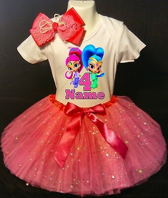 Shimmer and /& Shine Shirt 4th Fourth Birthday Pink Tutu Outfit Girl Headband