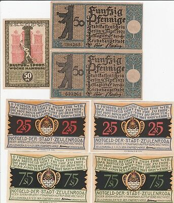 1920 's Notgeld Germany Notes Emergency Small Denomination Notes X 7 Unc.