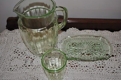 Depression glass Large Jug, water  glass and tray