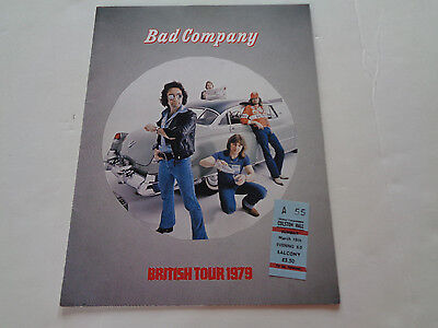 Bad Company 1979 Uk Tour Programme + Concert Ticket Colston Hall 18Th March