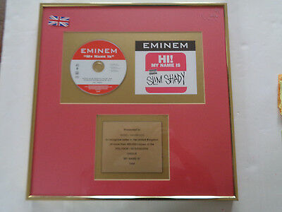 Eminem My Name Is Original 1999 Official Company Sales Award For 400,000 Copies