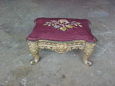 Ornate Antique Art Nouveau Victorian Cast Iron Foot Stool Ottoman Gold Filigree