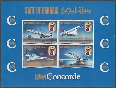 Bahrain 1976 Concorde By British Airways Gb Mint Ms Of 4 Values (Sg Ms 236)