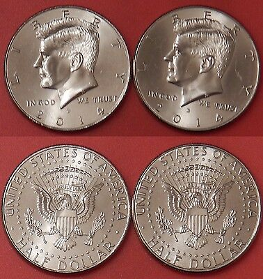 Brilliant Uncirculated 2014 P & D US Kennedy 50 Cents From Mint's Rolls