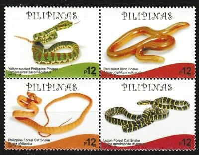 Snakes block of 4 mnh stamps 2017 Philippines forest cat snake viper blind snake