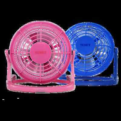"""4"""" Usb Powered Desk Fan Office Home Use Adjustable Angle  Blue Pink Cool New"""