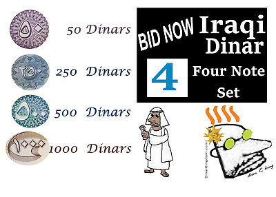 Iraqi Dinar, Four(4) Notes, 1000 note, 500 note, 250 note & 50 note - *BID NOW*