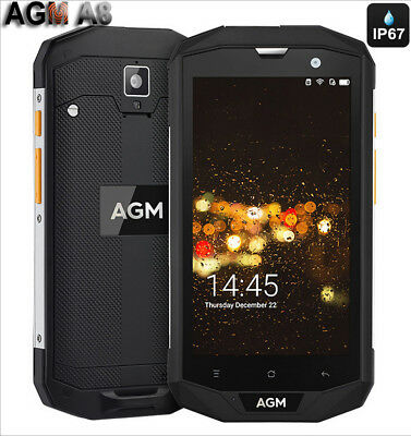 """5"""" AGM A8 4G Cellulare Smartphone Android 7.0 32GB 4050mAh Quad-core 13MP IP68"""
