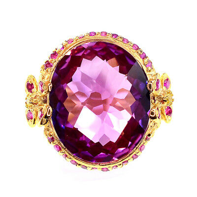 Gems 15.3 Ct Purple Blue Sapphire & Ruby Oval Sterling Silver 925 Ring Size 5.75