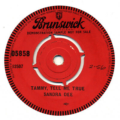 "SANDRA DEE ""Tammy, Tell Me True"" Authentic UK issue BRUNSWICK demo"