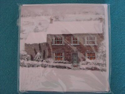 Christmas Cottage XS32- Christmas Cards Phoenix Trading 8 Cards, Amazing Quality