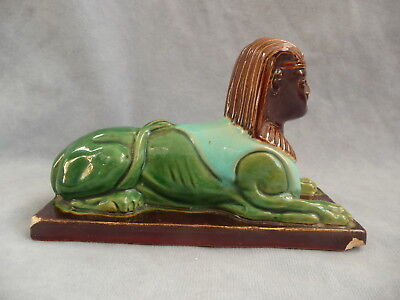 Antique colourful glazed majolica ceramic egyptian sphinx paperweight 19th c