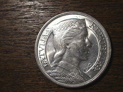 Latvia Old Silver Coin 5 Lat 1931