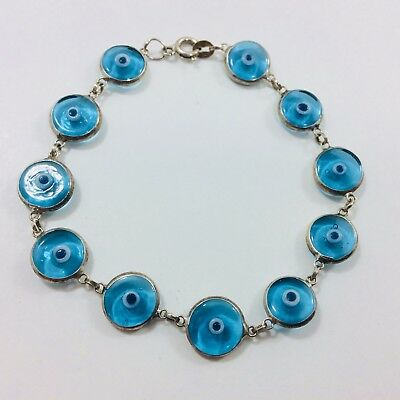 Sterling 925 Silver Bracelet With Round Blue Glass Inserts 17.5cm Long