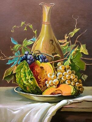 EE Smith 1910 ? Signed Original Still Life Oil Painting on Canvas Fruit & vase 2