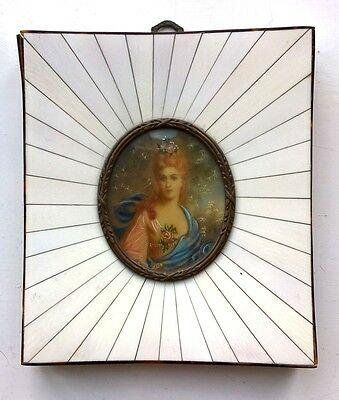 Miniature Watercolour Portrait Painting Lady Piano Key & Tortoise Shell Frame