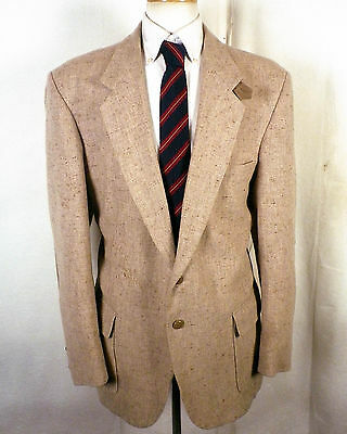 vtg Farah euc Beige Flecked Tweed Shooting Jacket Blazer patch pocket SZ 44 L