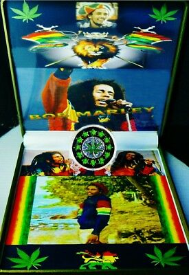 Bob Marley The Legend Memorabilia, Pictures +Weed Medallion In New Ex Large Case