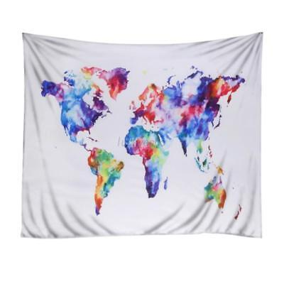 World Map Colorful Style Tapestry Wall Hanging Towel Home Decor Beach Yoga Mat