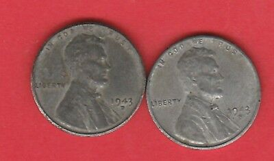 1943 D One Cent Us Wheat Ears Steel Coin Circulated X2  Issued Ww2